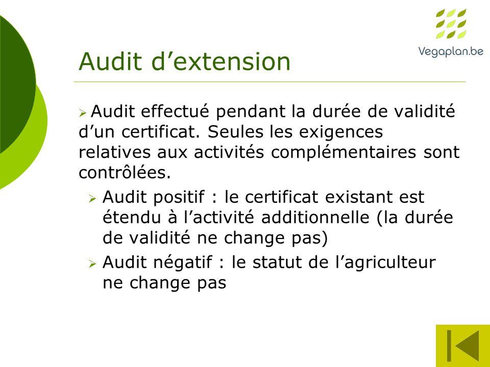 Audit d'extension  Audit effectué pendant la durée de validité d'un certificat.