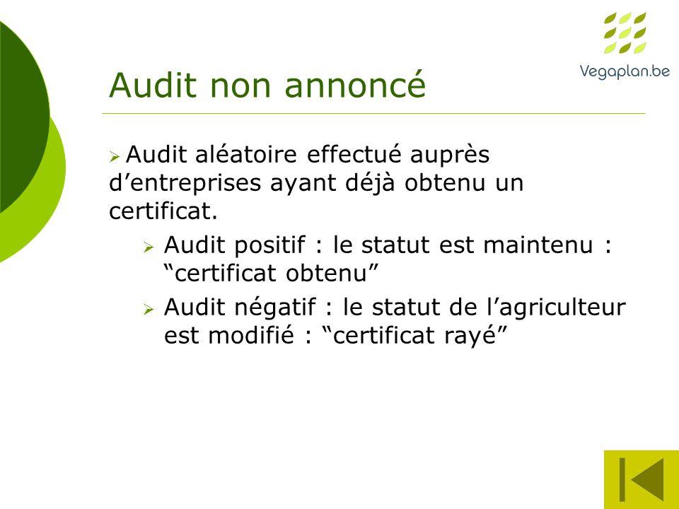 Audit non annoncé  Audit aléatoire effectué auprès d'entreprises ayant déjà obtenu un certificat.