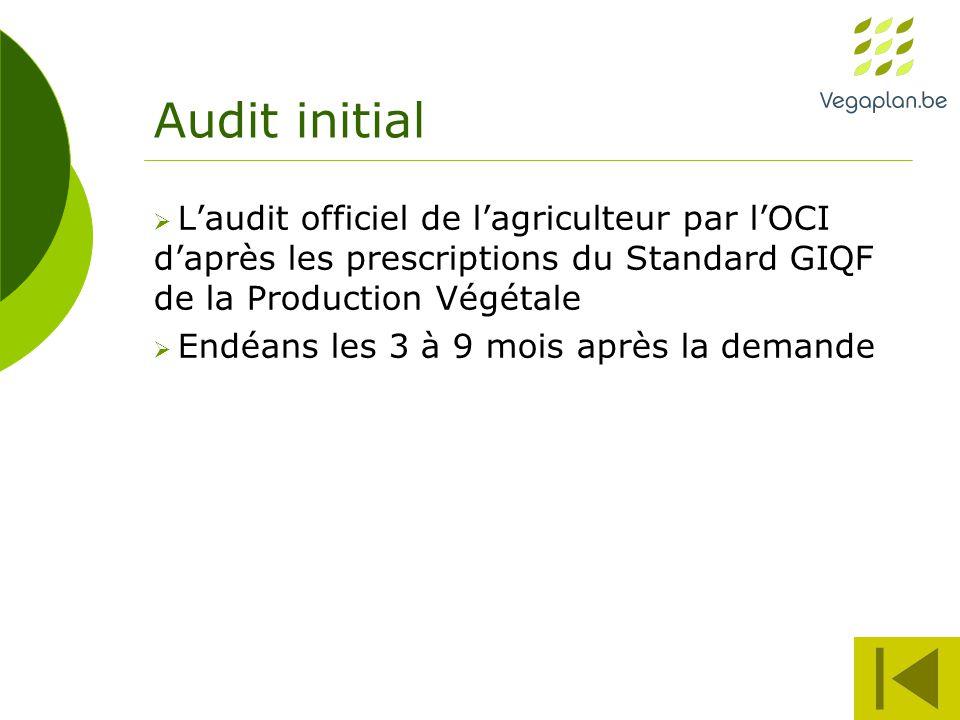 Audit initial  L'audit officiel de l'agriculteur par l'OCI d'après les prescriptions du Standard GIQF de la Production Végétale  Endéans les 3 à 9 mois après la demande