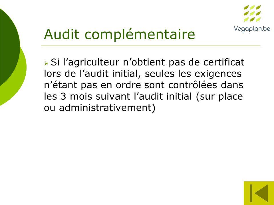 Audit complémentaire  Si l'agriculteur n'obtient pas de certificat lors de l'audit initial, seules les exigences n'étant pas en ordre sont contrôlées dans les 3 mois suivant l'audit initial (sur place ou administrativement)