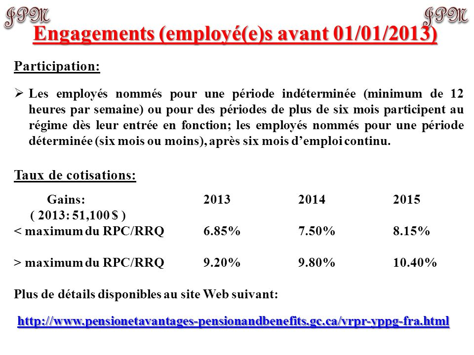 Participation:  Les employés nommés pour une période indéterminée (minimum de 12 heures par semaine) ou pour des périodes de plus de six mois partici