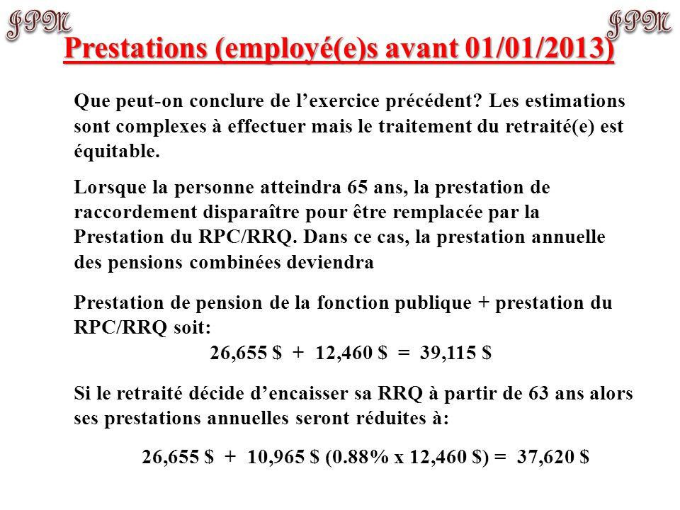 Prestations (employé(e)s avant 01/01/2013) Exemple de calcul (suite): Comme la personne prend sa retraite avant 65 ans, celle-ci a droit à une prestat