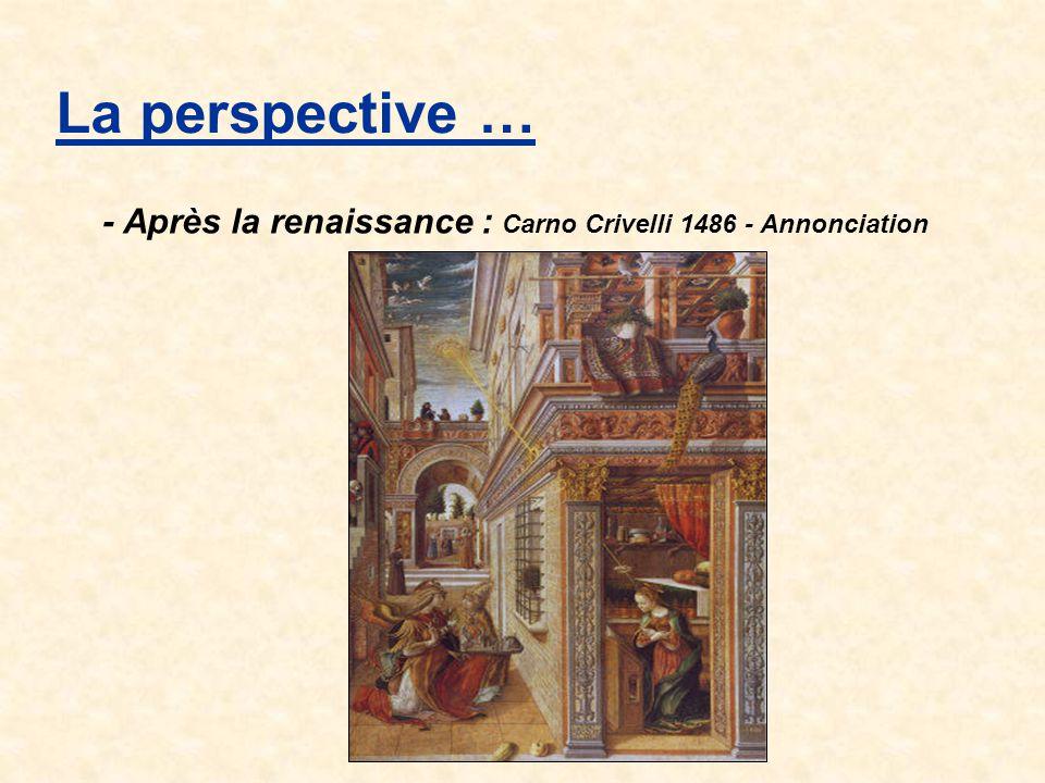 La perspective … Une perspective est l ensemble des lois permettant de représenter sur un plan des figures à trois dimensions Qu'est ce qu'une perspective .