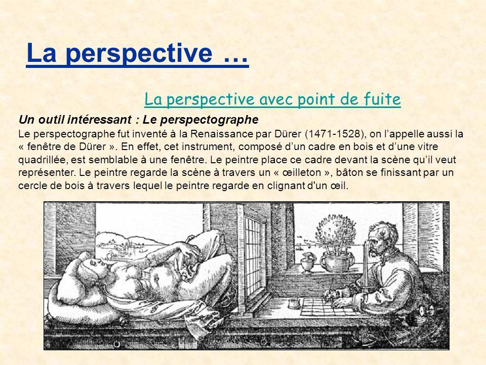 Un outil intéressant : Le perspectographe Le perspectographe fut inventé à la Renaissance par Dürer (1471-1528), on l'appelle aussi la « fenêtre de Dü