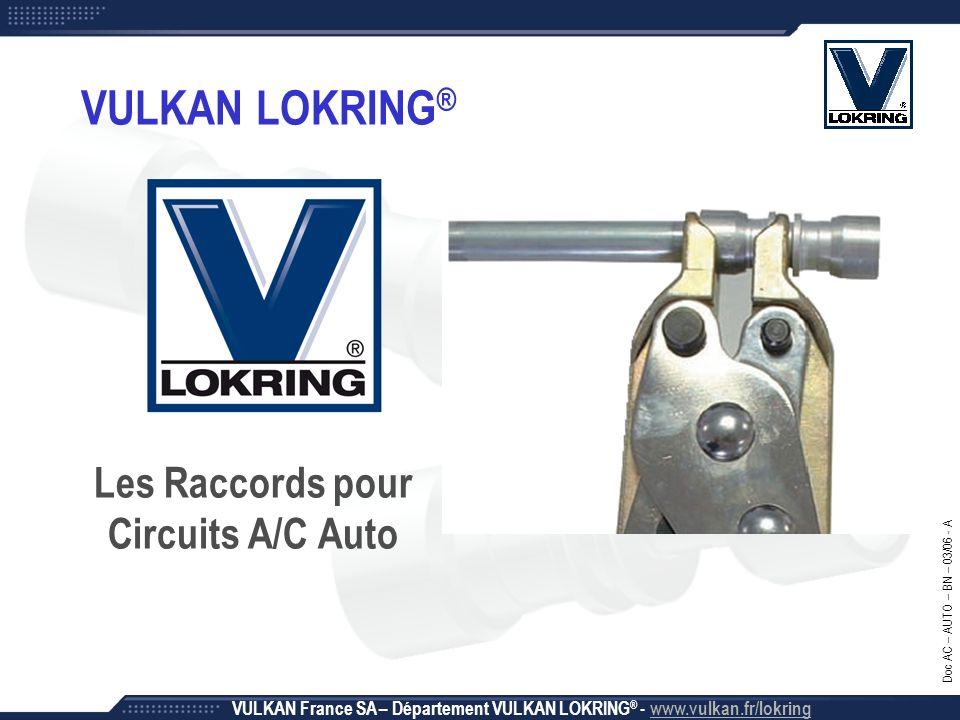 2 Rapide, Simple et Efficace VULKAN LOKRING ® – Raccords pour Circuits A/C Auto VULKAN France SA – Département VULKAN LOKRING ® - www.vulkan.fr/lokring