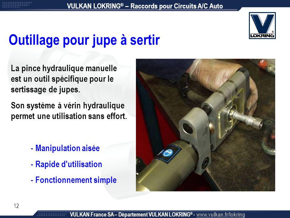 12 Outillage pour jupe à sertir VULKAN LOKRING ® – Raccords pour Circuits A/C Auto VULKAN France SA – Département VULKAN LOKRING ® - www.vulkan.fr/lok