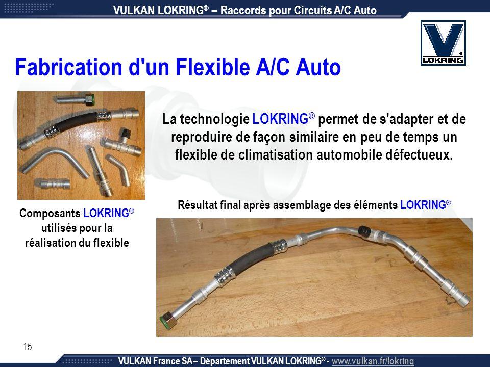 15 Composants LOKRING ® utilisés pour la réalisation du flexible Résultat final après assemblage des éléments LOKRING ® Fabrication d'un Flexible A/C