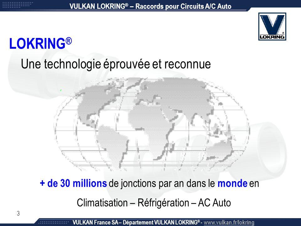3 LOKRING ® Une technologie éprouvée et reconnue + de 30 millions de jonctions par an dans le monde en Climatisation – Réfrigération – AC Auto VULKAN