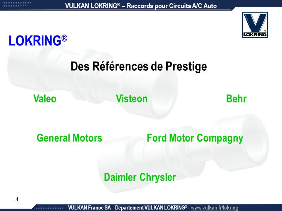 25 VULKAN LOKRING ® – Raccords pour Circuits A/C Auto VULKAN France SA – Département VULKAN LOKRING ® - www.vulkan.fr/lokring Rapide, Simple et Efficace