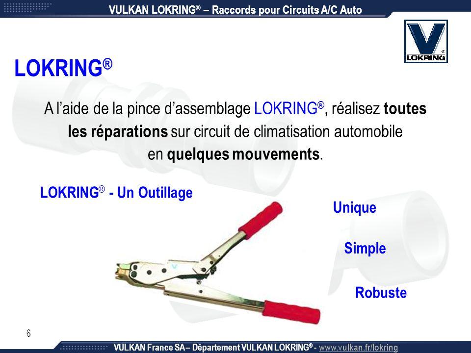 6 LOKRING ® A l'aide de la pince d'assemblage LOKRING ®, réalisez toutes les réparations sur circuit de climatisation automobile en quelques mouvement