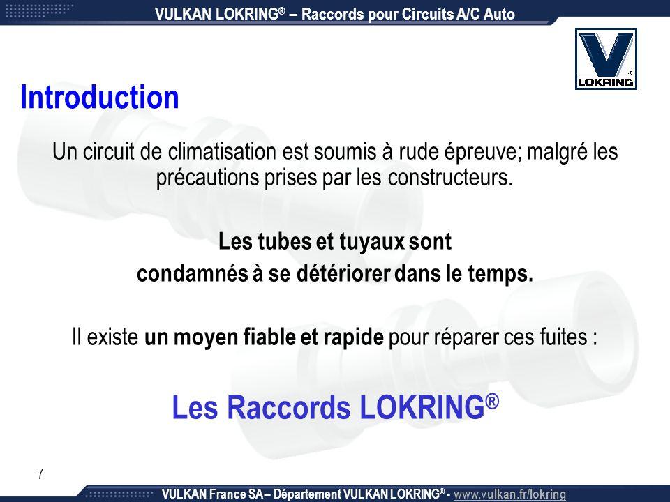 8 La Détérioration d'un Circuit A/C Auto Causes majeures : - Environnement (vibrations, corrosion, humidité, …) - Chocs (accidents, impacts, frottements, …) - Usure (vieillissement, manque d'entretien, …) VULKAN LOKRING ® – Raccords pour Circuits A/C Auto VULKAN France SA – Département VULKAN LOKRING ® - www.vulkan.fr/lokring