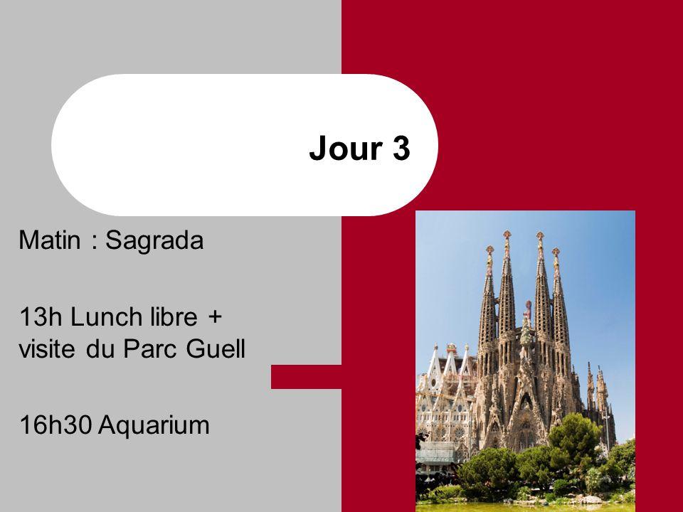 Jour 3 Matin : Sagrada 13h Lunch libre + visite du Parc Guell 16h30 Aquarium