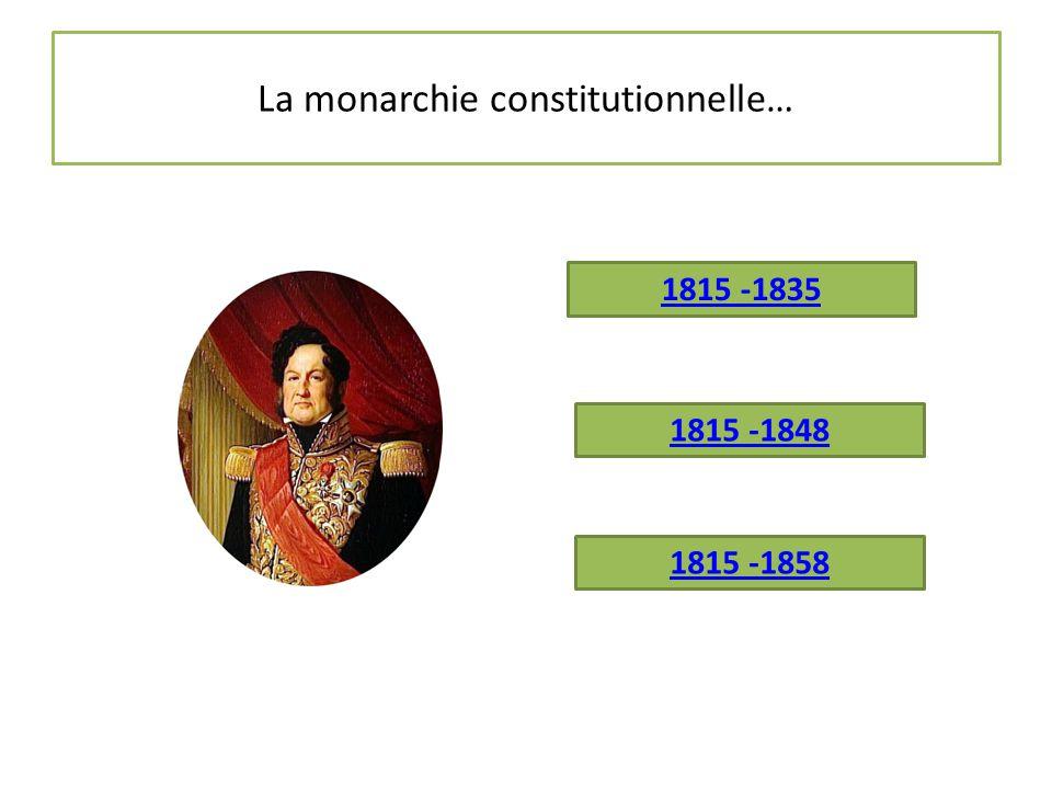 La monarchie constitutionnelle c'est de 1815 à 1848 « Incroyable et merveilleuse » La France a à sa tête un monarque (Louis XVIII, Charles X, Louis-Philippe 1 er ), mais une Charte (une Constitution) répartit le pouvoir entre le roi et une assemblée élue au suffrage censitaire.