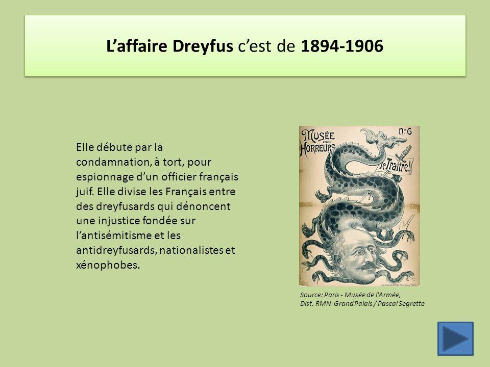L'affaire Dreyfus c'est de 1894-1906 Source: Paris - Musée de l'Armée, Dist. RMN-Grand Palais / Pascal Segrette Elle débute par la condamnation, à tor