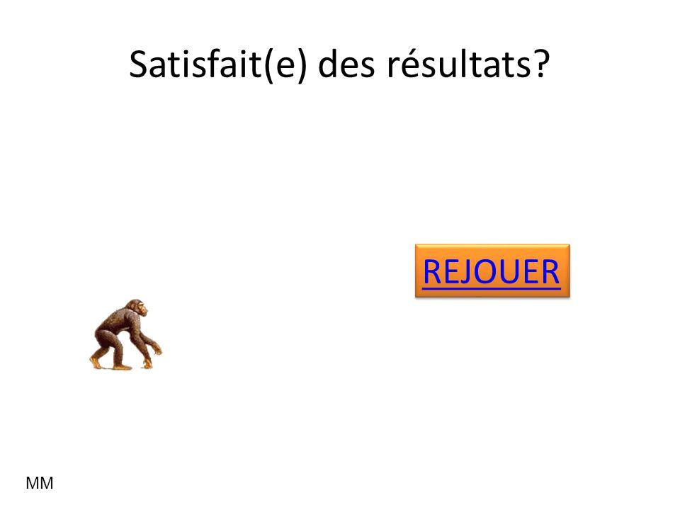 Satisfait(e) des résultats? REJOUER MM