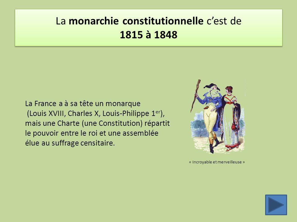 La monarchie constitutionnelle c'est de 1815 à 1848 « Incroyable et merveilleuse » La France a à sa tête un monarque (Louis XVIII, Charles X, Louis-Ph