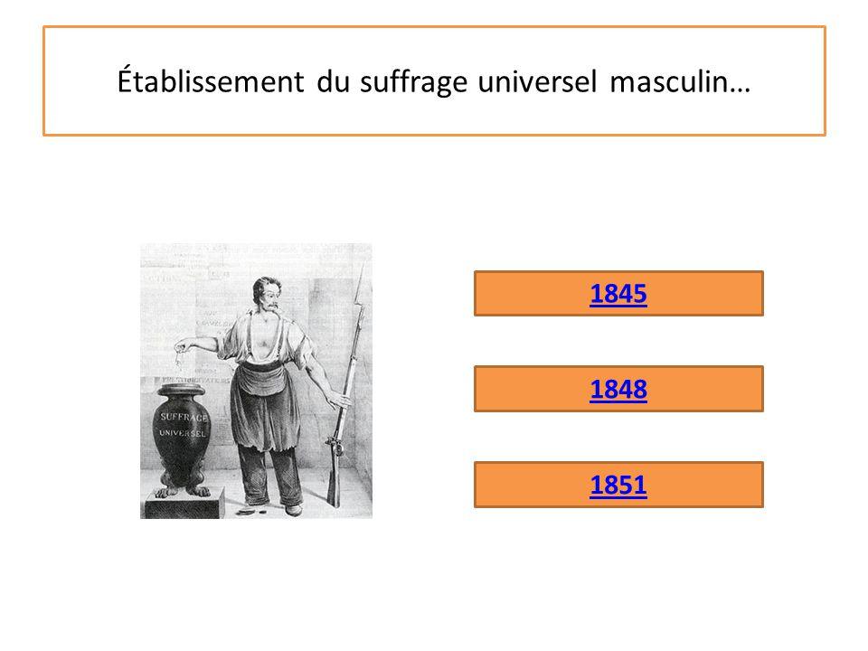 L'établissement du suffrage universel masculin c'est en 1848 C'est l'une des premières décisions de la Deuxième République.