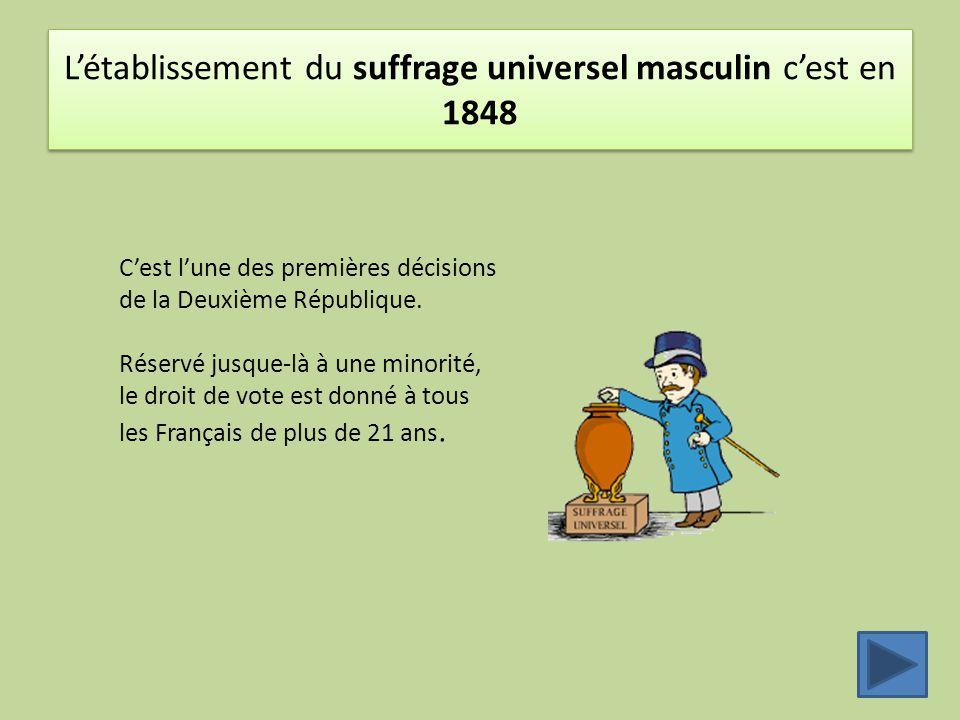L'établissement du suffrage universel masculin c'est en 1848 C'est l'une des premières décisions de la Deuxième République. Réservé jusque-là à une mi