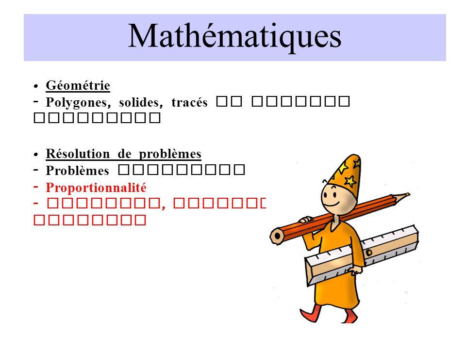 Mathématiques Géométrie - Polygones, solides, tracés de figures complexes Résolution de problèmes - Problèmes complexes - Proportionnalité - Echelles,