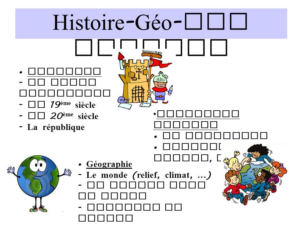 Histoire - Géo - Edu Civique Géographie - Le monde ( relief, climat, … ) - La France dans le monde - Produire en France Histoire - La frise historique