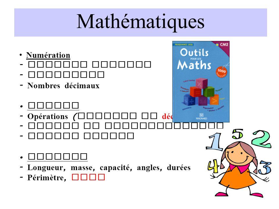 Mathématiques Numération - Nombres entiers - Fractions - Nombres décimaux Calcul - Opérations ( entiers et décimaux ) - Tables de multiplication - Cal