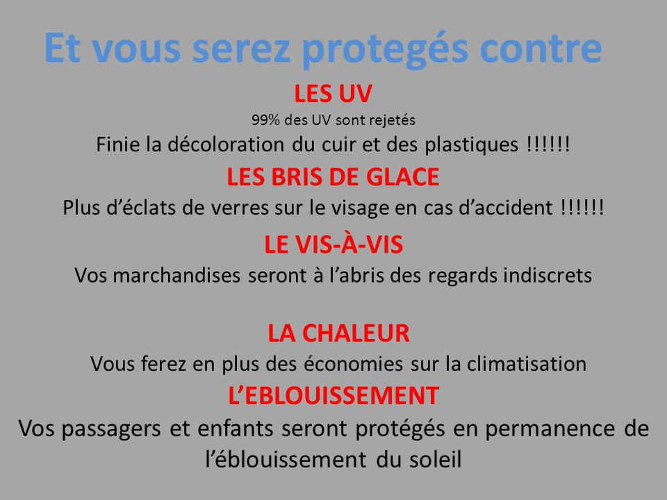 Et vous serez protegés contre LES UV 99% des UV sont rejetés Finie la décoloration du cuir et des plastiques !!!!!.