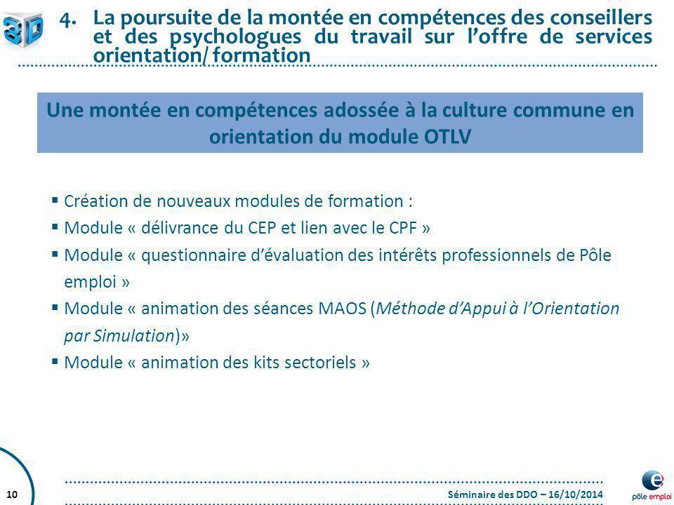 Séminaire des DDO – 16/10/201410 4.La poursuite de la montée en compétences des conseillers et des psychologues du travail sur l'offre de services ori