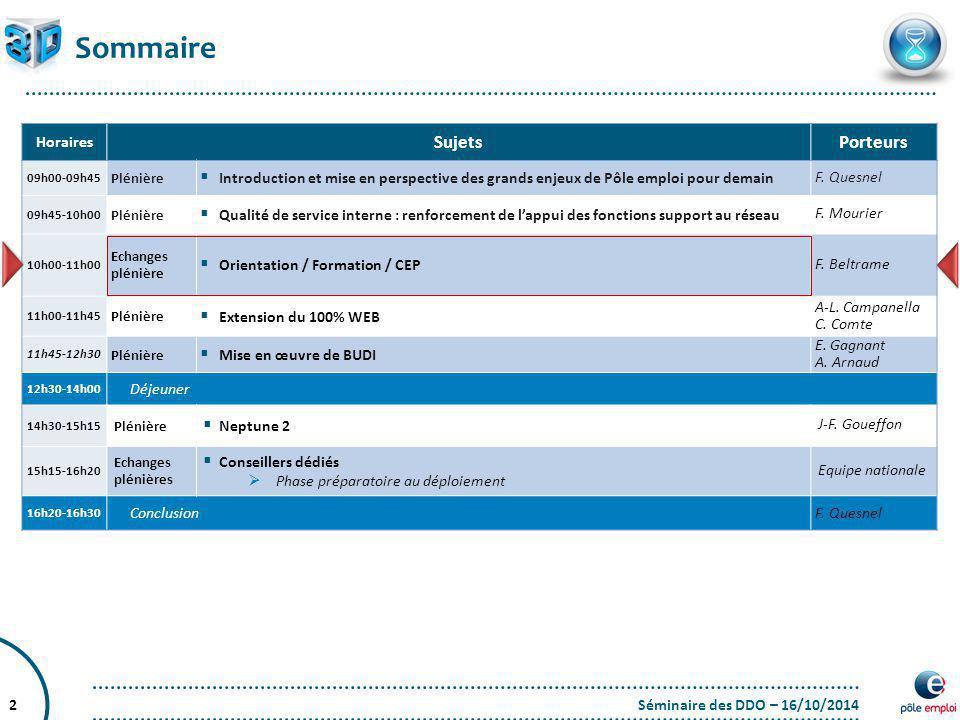 Séminaire des DDO – 16/10/20142 Sommaire Horaires SujetsPorteurs 09h00-09h45 Plénière  Introduction et mise en perspective des grands enjeux de Pôle