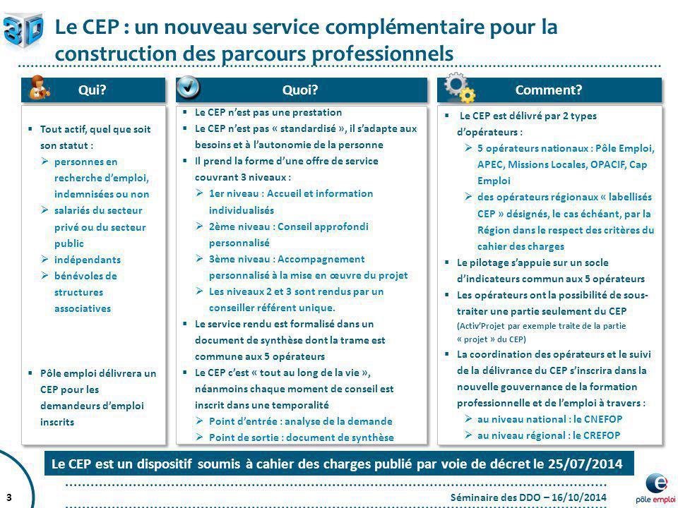 Séminaire des DDO – 16/10/20143  Tout actif, quel que soit son statut :  personnes en recherche d'emploi, indemnisées ou non  salariés du secteur p