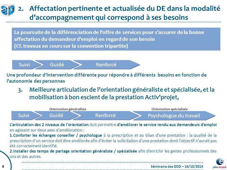 Séminaire des DDO – 16/10/20148 2.Affectation pertinente et actualisée du DE dans la modalité d'accompagnement qui correspond à ses besoins La poursui