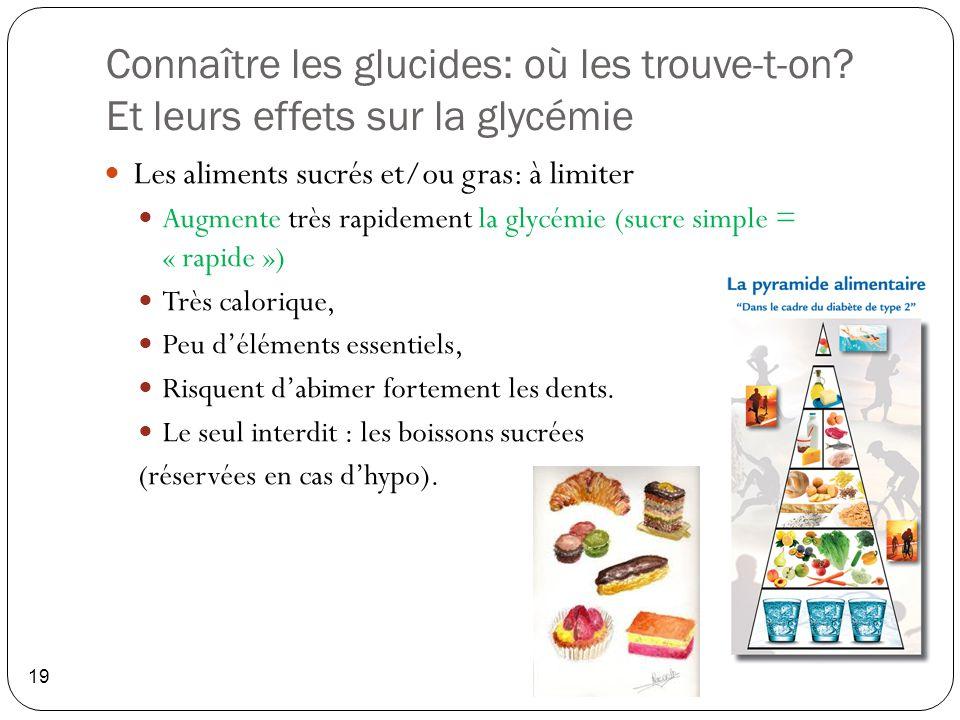 Connaître les glucides: où les trouve-t-on? Et leurs effets sur la glycémie 19 Les aliments sucrés et/ou gras: à limiter Augmente très rapidement la g