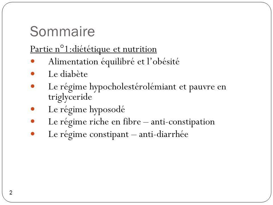 Sommaire 2 Partie n°1:diététique et nutrition Alimentation équilibré et l'obésité Le diabète Le régime hypocholestérolémiant et pauvre en triglyceride