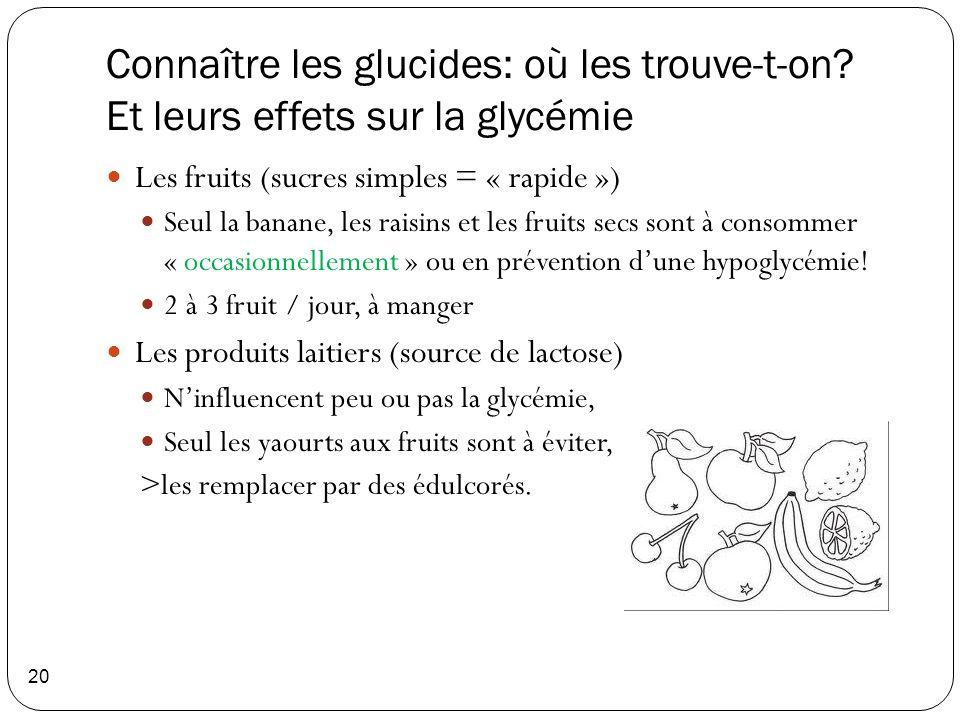 Connaître les glucides: où les trouve-t-on? Et leurs effets sur la glycémie 20 Les fruits (sucres simples = « rapide ») Seul la banane, les raisins et