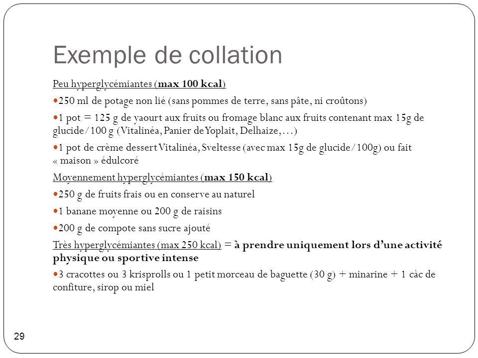 Exemple de collation 29 Peu hyperglycémiantes (max 100 kcal) 250 ml de potage non lié (sans pommes de terre, sans pâte, ni croûtons) 1 pot = 125 g de