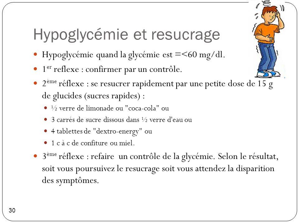 Hypoglycémie et resucrage 30 Hypoglycémie quand la glycémie est =<60 mg/dl. 1 er reflexe : confirmer par un contrôle. 2 ème réflexe : se resucrer rapi