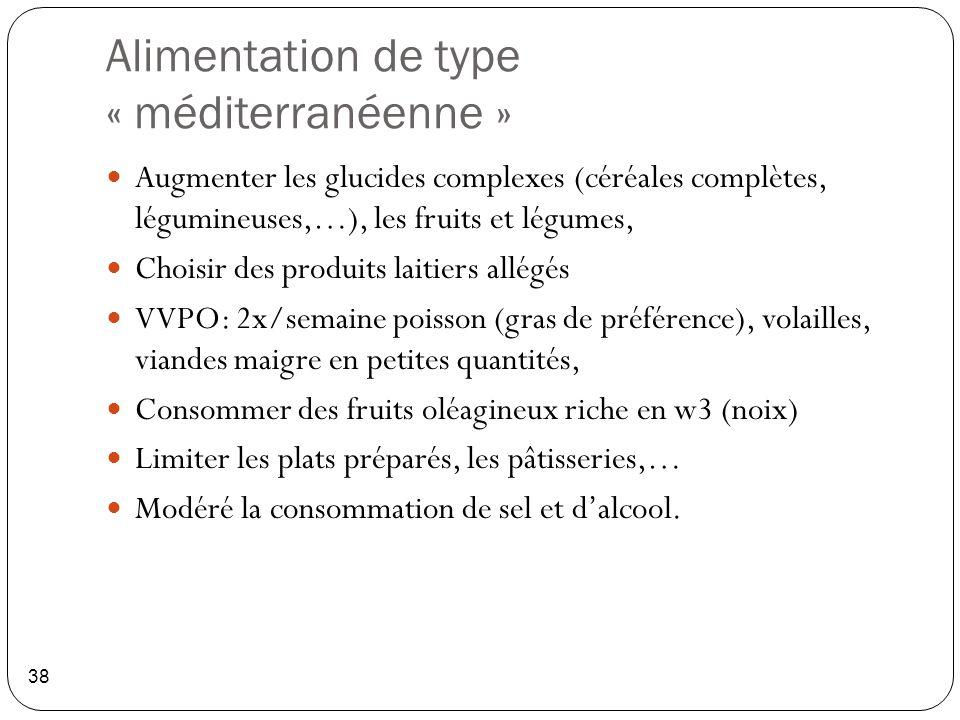 Alimentation de type « méditerranéenne » 38 Augmenter les glucides complexes (céréales complètes, légumineuses,…), les fruits et légumes, Choisir des