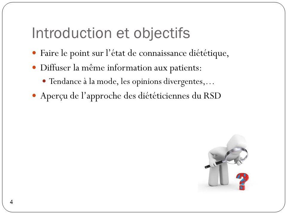 Introduction et objectifs 4 Faire le point sur l'état de connaissance diététique, Diffuser la même information aux patients: Tendance à la mode, les o