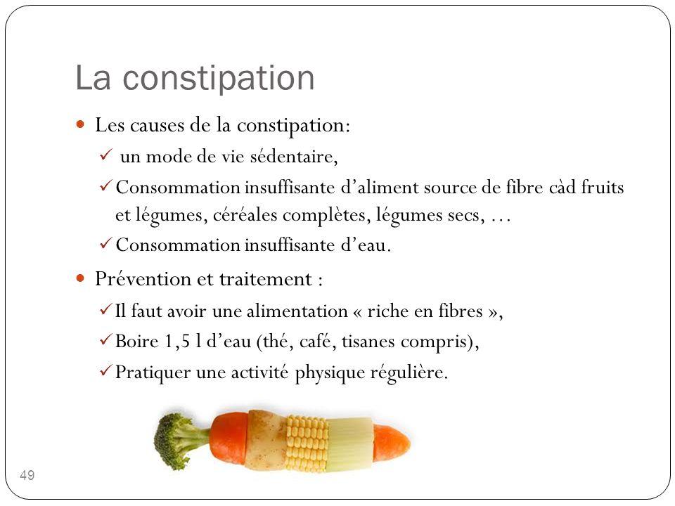 La constipation 49 Les causes de la constipation: un mode de vie sédentaire, Consommation insuffisante d'aliment source de fibre càd fruits et légumes