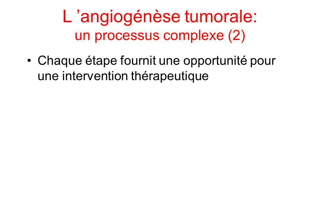 L 'angiogénèse tumorale: un processus complexe (2) Chaque étape fournit une opportunité pour une intervention thérapeutique