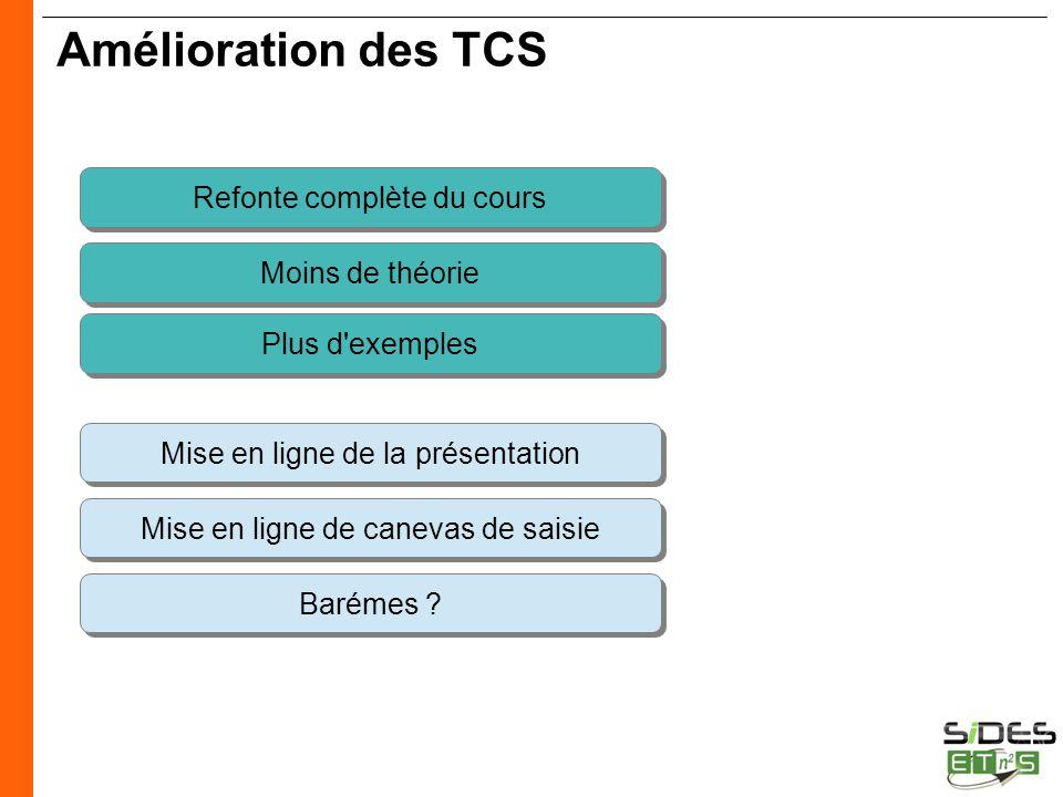 CERTIFICATION SIDES Amélioration des TCS Refonte complète du cours Moins de théorie Mise en ligne de canevas de saisie Barémes ? Mise en ligne de la p