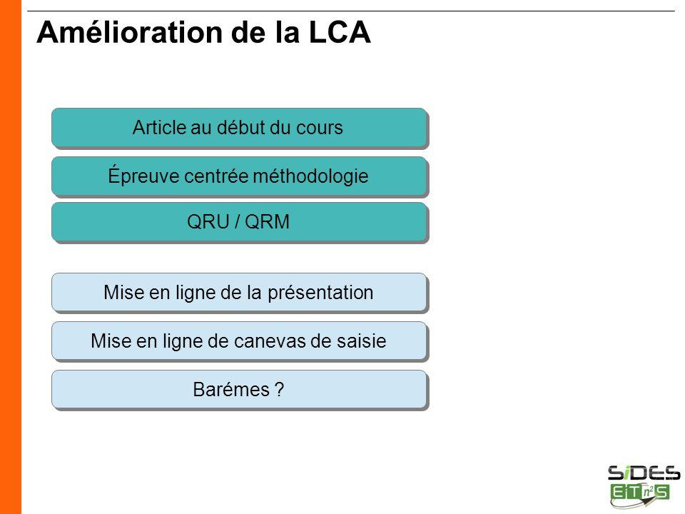 CERTIFICATION SIDES Amélioration de la LCA Article au début du cours Épreuve centrée méthodologie Mise en ligne de canevas de saisie Barémes ? Mise en