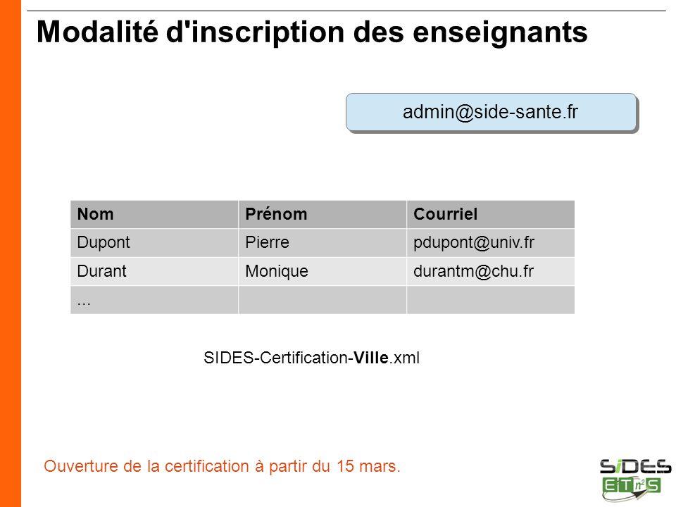 CERTIFICATION SIDES Modalité d'inscription des enseignants admin@side-sante.fr NomPrénomCourriel DupontPierrepdupont@univ.fr DurantMoniquedurantm@chu.
