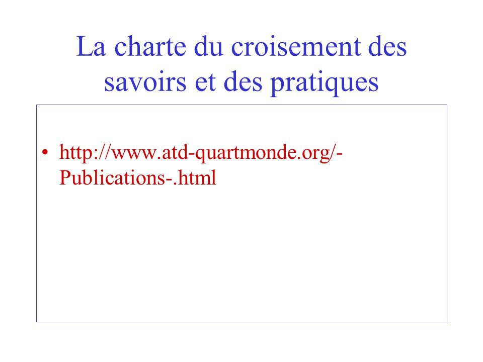 La charte du croisement des savoirs et des pratiques http://www.atd-quartmonde.org/- Publications-.html