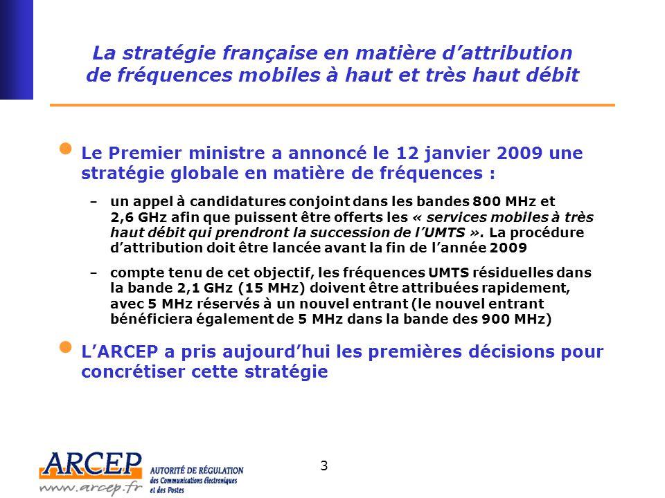 4 Le très haut débit mobile (« 4G ») La consultation publique de l'ARCEP dans les bandes de fréquences 2,6 GHz et 800 MHz