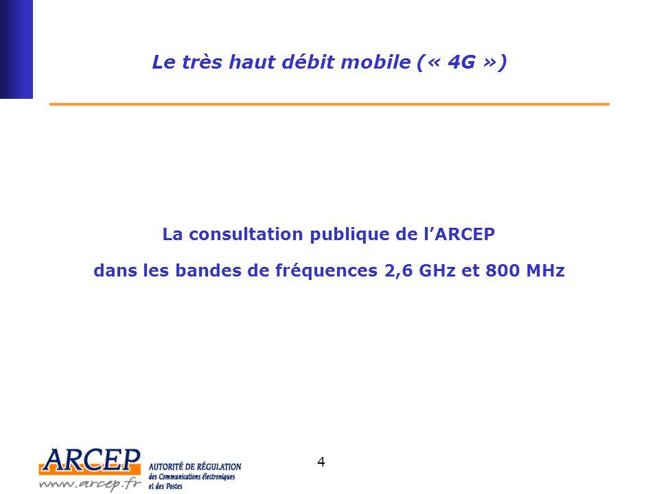 Le très haut débit mobile (« 4G ») : consultation sur l'attribution d'autorisations d'utilisation de fréquences dans les bandes 800 MHz et 2,6 GHz L'ARCEP lance aujourd'hui une consultation publique qui vise à recueillir les analyses de tous les acteurs intéressés sur les modalités à retenir pour l'attribution d'autorisation d'utilisation de fréquences dans les bandes 800 MHz et 2,6 GHz.