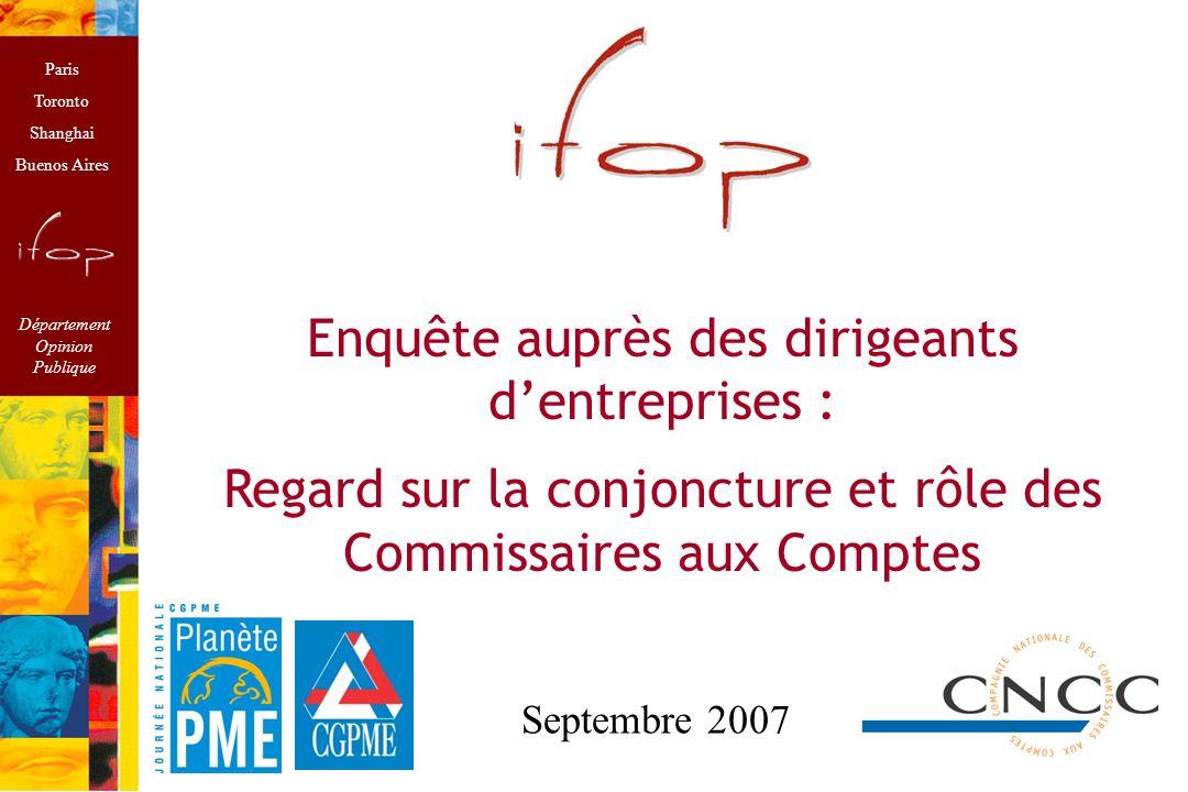 1 Méthodologie Enquête réalisée à l'occasion de Planète PME à l'initiative de la CGPME et des Commissaires aux Comptes.