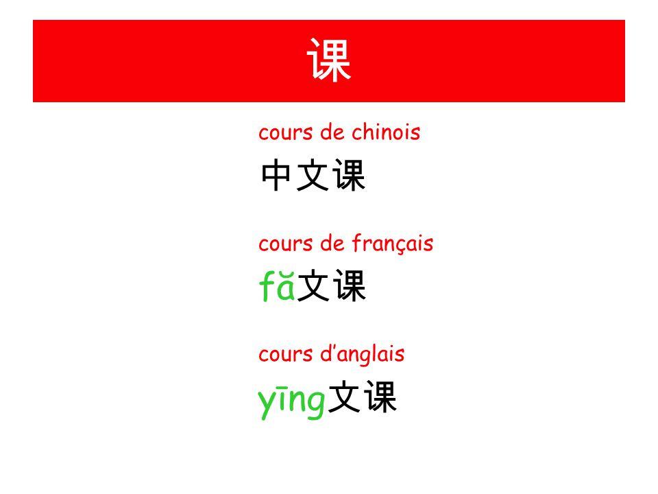 课 cours de chinois 中文课 cours de français fă 文课 cours d'anglais yīng 文课