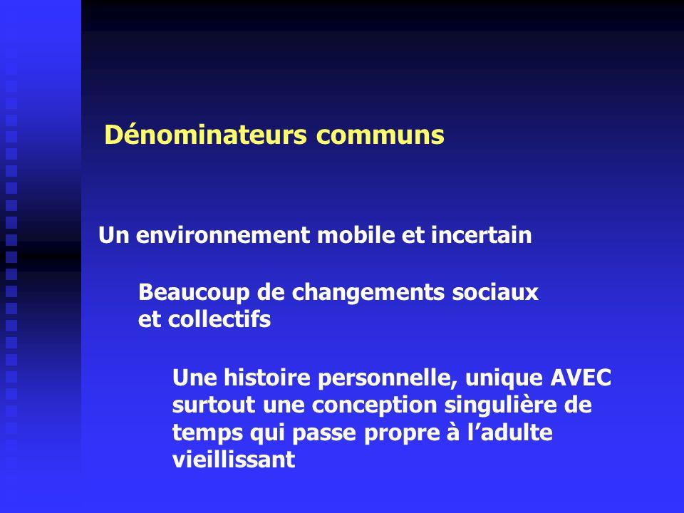 Dénominateurs communs Un environnement mobile et incertain Beaucoup de changements sociaux et collectifs Une histoire personnelle, unique AVEC surtout