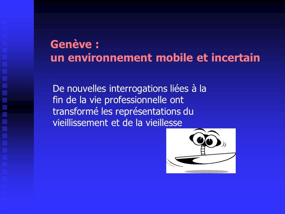 Genève : un environnement mobile et incertain De nouvelles interrogations liées à la fin de la vie professionnelle ont transformé les représentations
