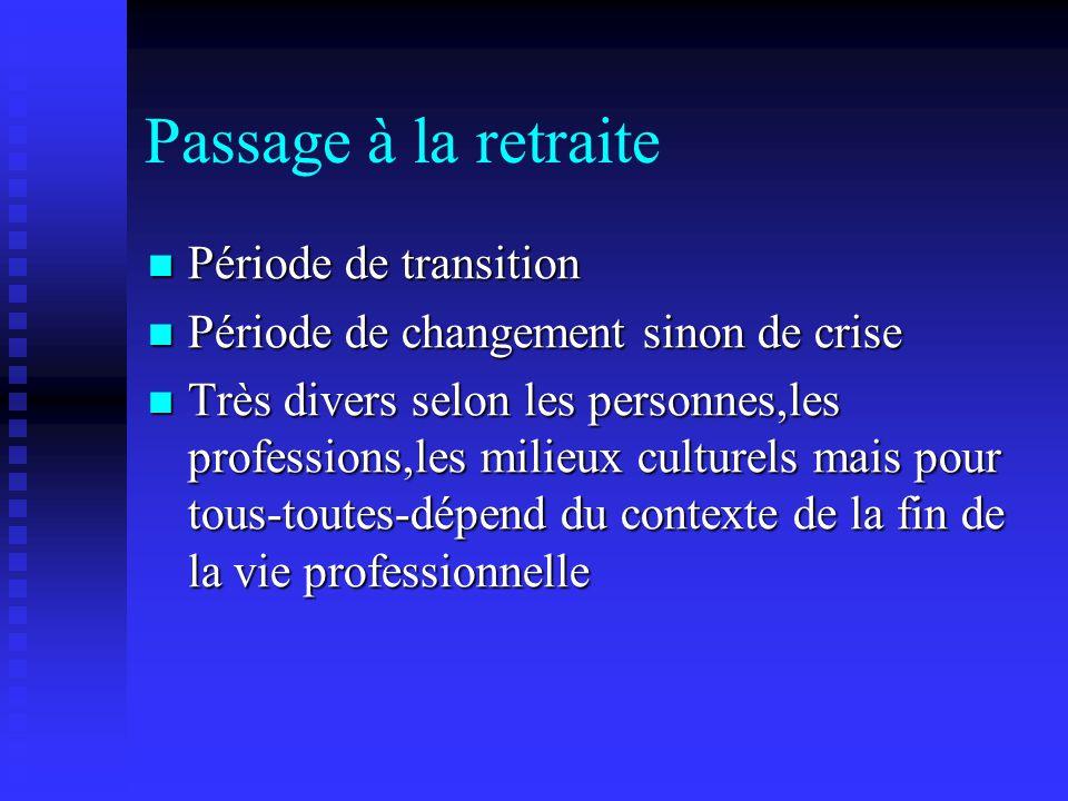 Passage à la retraite Période de transition Période de transition Période de changement sinon de crise Période de changement sinon de crise Très diver